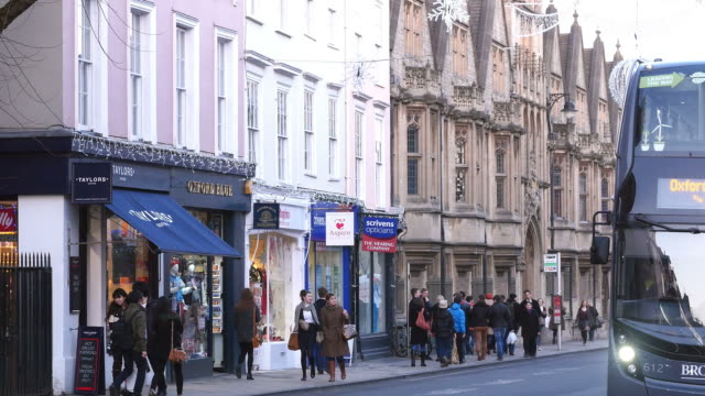 Passengers Getting Off Bus In Oxford City Centre video