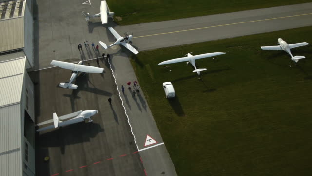 Passengers leaves privat airport hangers video