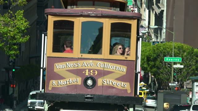 Passengers riding on cable car in California street  San Francisco, CA