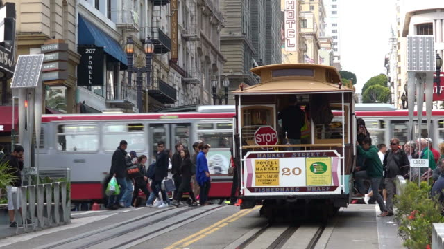 Passengers riding on Powell-Hyde line cable car in San Francisco, California