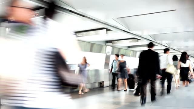 passengers walking in the subway station corridor,timelapse video
