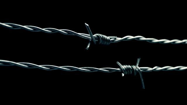 vidéos et rushes de en passant le long du fil de fer barbelé closeup - première guerre mondiale