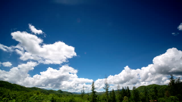 Passing Clouds With Blue Sky Over Tree And Mountain Timelapse of passing clouds with blue sky over tree and mountain,tilt shot midday stock videos & royalty-free footage
