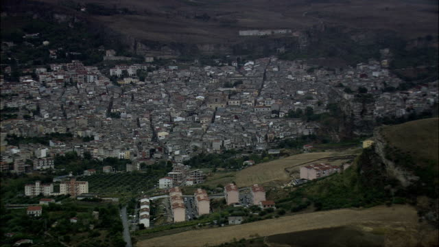 Passing Corleone  - Aerial View - Sicily, Province of Palermo, Corleone, Italy video