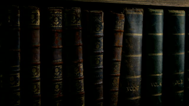Passing Row Of Antique Vintage Books Closeup shot passing very old books in library 19th century style stock videos & royalty-free footage
