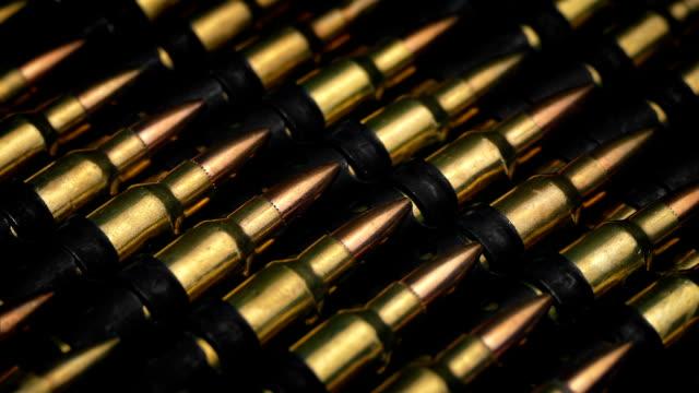 Passing Rows Of Gun Ammunition Closeup video