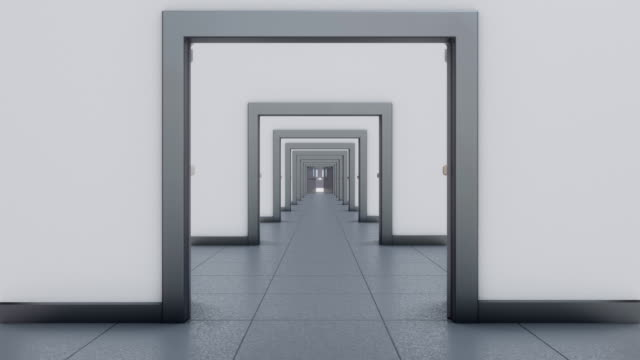 Passing through corridor with opening double doors. Animation of long corridor with double doors. Mask included. chance stock videos & royalty-free footage
