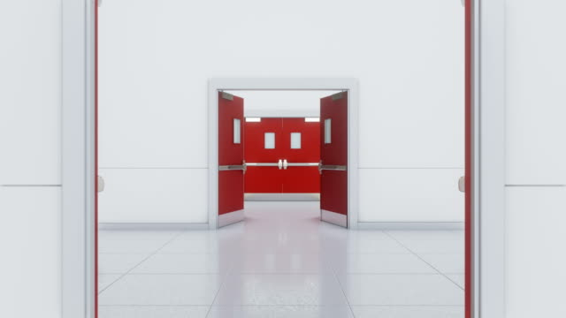 Passing through red double doors.