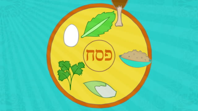 Passover animation with seder elements. Happy Passover greeting at the end. video