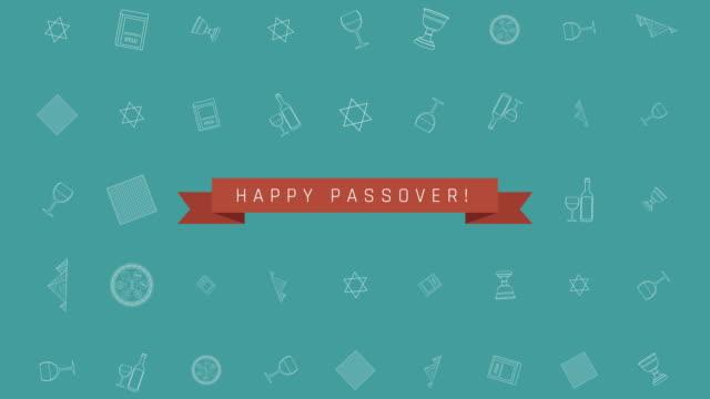 vidéos et rushes de appartement de vacances de pâque design fond d'animation avec contour traditionnels symboles et icônes texte anglais - pâque juive