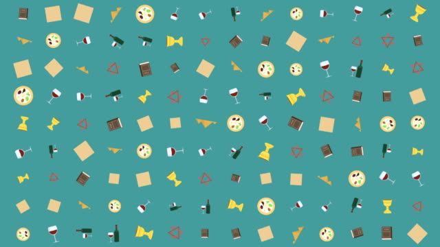 Passover holiday flat design animation background with traditional symbols video