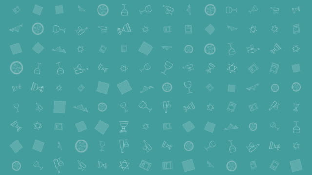Passover holiday flat design animation background with traditional outline icon symbols video