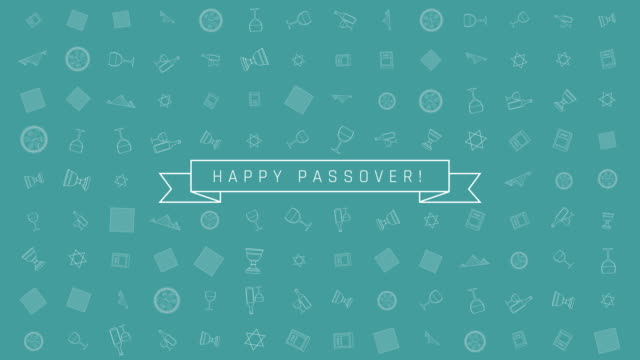 Passover holiday flat design animation background with traditional outline icon symbols and english text video