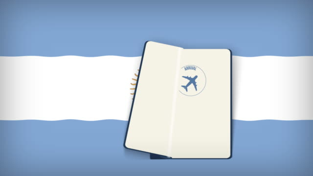 passport and flag of argentina - bandiera dell'argentina video stock e b–roll