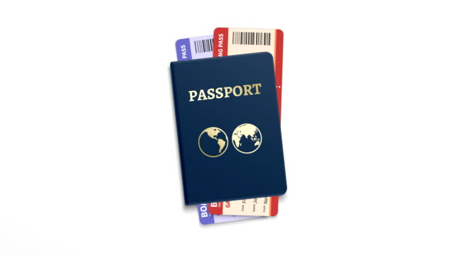 Passport and two tickets, travel time concept video