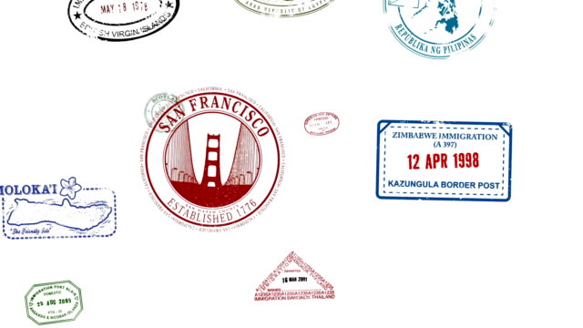Passport Stamps Animated with travel stickers too Passport Stamps Animated with travel stickers too passport stock videos & royalty-free footage