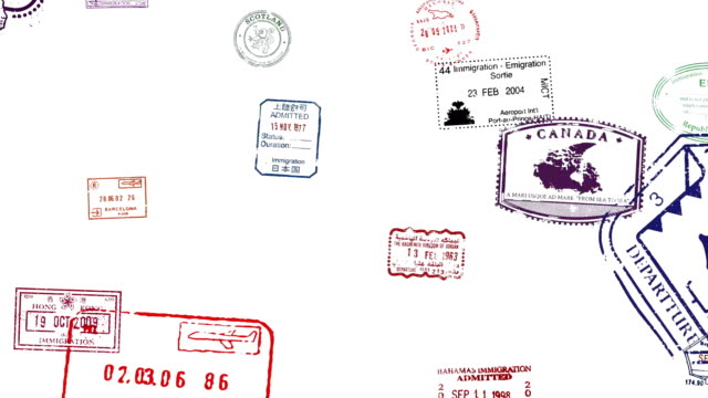 Passport Stamps Animating on screen Passport Stamps Animating on screen passport stock videos & royalty-free footage