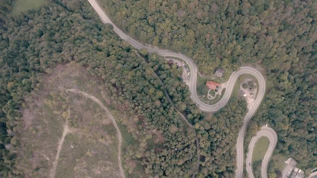 Passroad at a Mountain. Turns through forest. Aerial Birdview. Kesselberg next to Walchensee. Bavaria