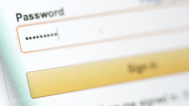 vídeos de stock e filmes b-roll de palavra-passe no ecrã do computador - documento