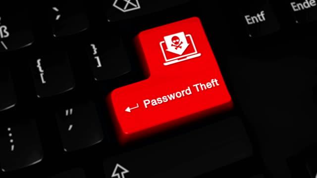 コンピュータのキーボードボタンのパスワード盗難ローテーションモーション。 ビデオ