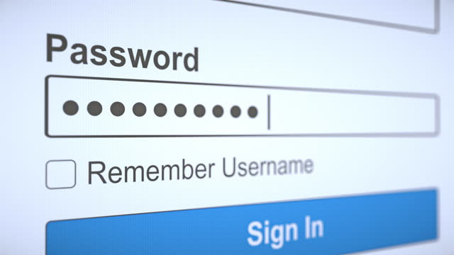 Password Typed on Website for Login A user types his encrypted network password into a website to login. password stock videos & royalty-free footage