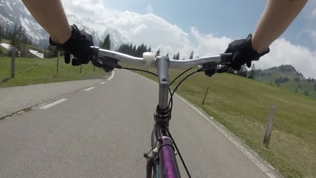POV past bike handlebars to bicycle piloting mountain road Mountains in distance, meadow and forest in foreground, Bern Canton handlebar stock videos & royalty-free footage