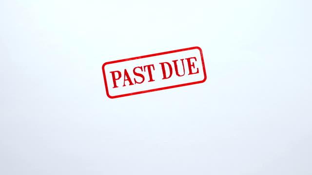 vídeos y material grabado en eventos de stock de vencidos sello estampado sobre papel en blanco, demora en el pago, supere el límite de tiempo - recesión