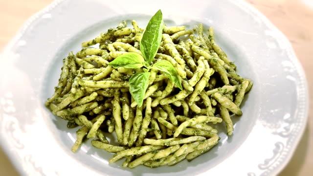 pasta with pesto italian food, pasta and pesto pesto sauce stock videos & royalty-free footage