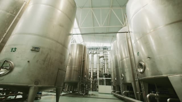 Pasteurization Equipment. Juice Factory. Modern Silo For Pasteurization Products. Juice Production Equipment. stainless steel stock videos & royalty-free footage