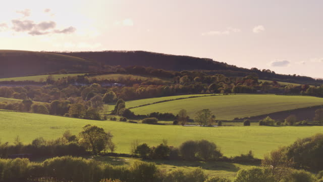 pastoral english landscape at sunset - drone shot - south downs video stock e b–roll