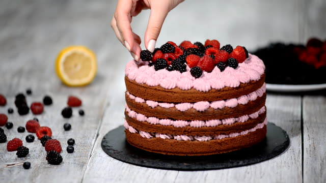 pastry chef decorates a cake with berries. - bakeries stock videos and b-roll footage