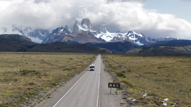 Patagonia Landscape, Aerial View of Road to El Chalten with Mount Fitzroy in the Background