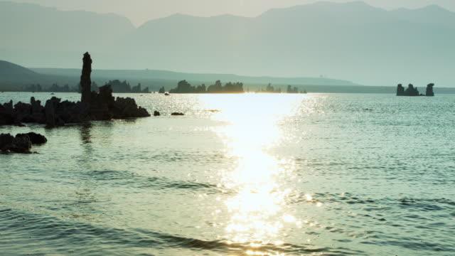 Path of Glittering Sunset Light at Mono Lake video