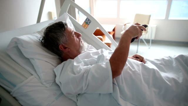 Patient at a hospital watching TV video