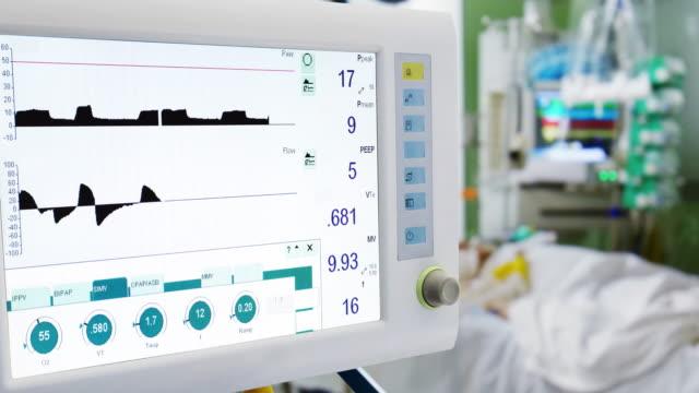 stockvideo's en b-roll-footage met patiënt in icu met longventilatie op voorgrond - ventilator bed