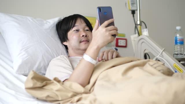 Patient Patient using smart phones in hospital room