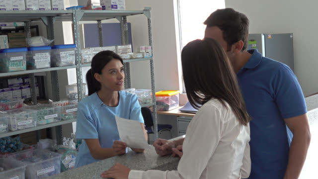Patients arriving at a pharmacy to request medications video