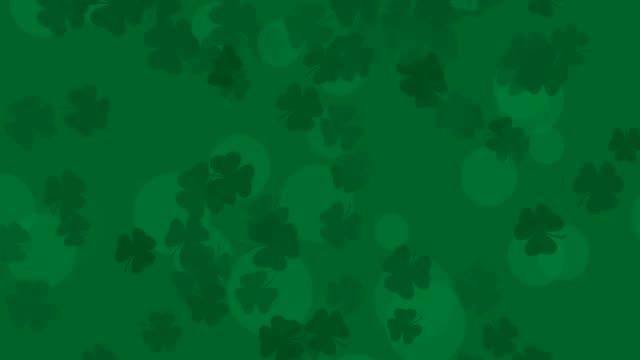 Patrick Day background with falling shamrock leaf pattern. For festive pub party. 3d render, loop 4k