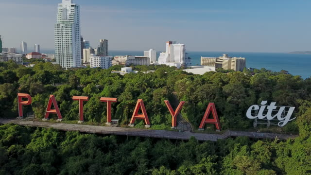 Pattaya City sign Pattaya City sign on the hill from aerial view, Chonburi, Thailand pattaya stock videos & royalty-free footage