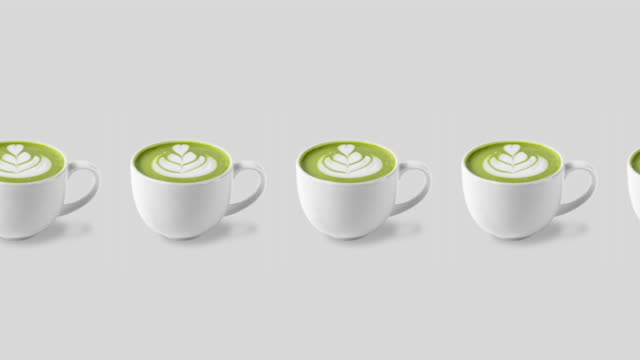 pattern with many coffee green matcha cups animated on a white background