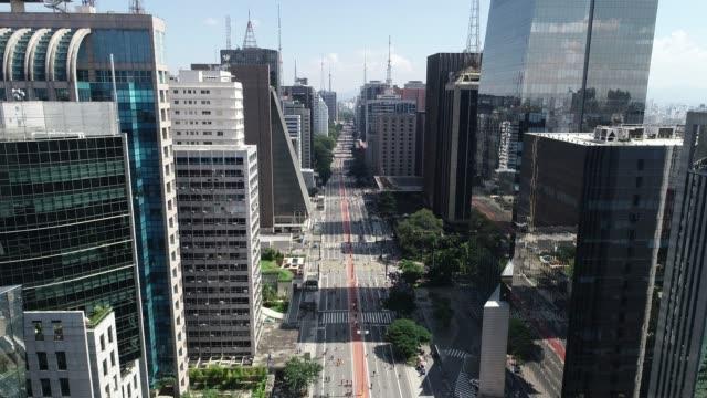 Paulista Avenue, Sao Paulo City, Brazil Aerial view of Avenida Paulista (Paulista avenue) in Sao Paulo city, Brazil são paulo state stock videos & royalty-free footage