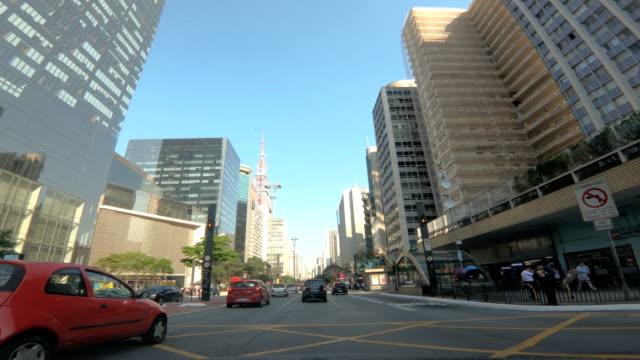 paulista avenue, são paulo - brazil - são paulo video stock e b–roll