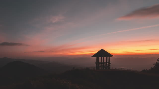 Pavilion on mountain peak at sunset