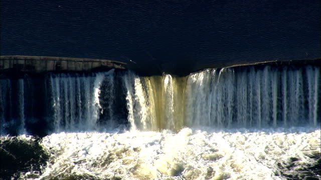 Pawtucket Falls (Upper)  - Aerial View - Massachusetts,  Middlesex County,  United States video
