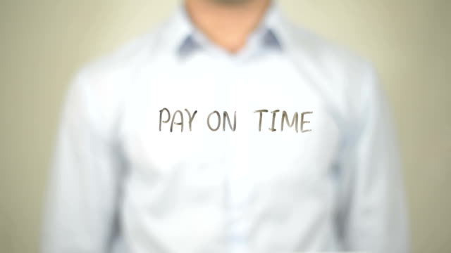 Pay on Time , Man writing on transparent screen video