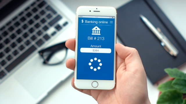 Paying bill on app on bankingthe smartphone video