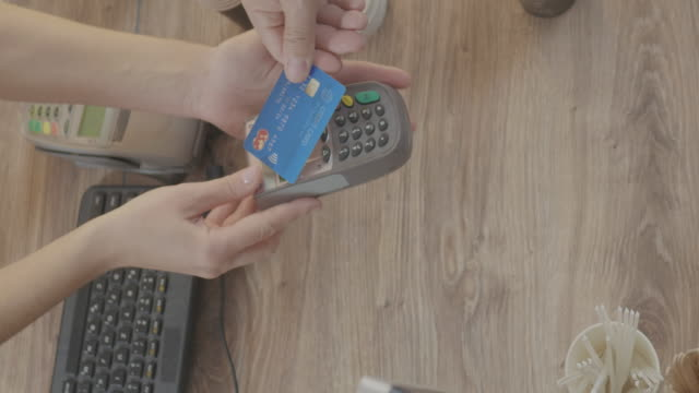 Paying With Contactless Credit Card at a Coffee Shop