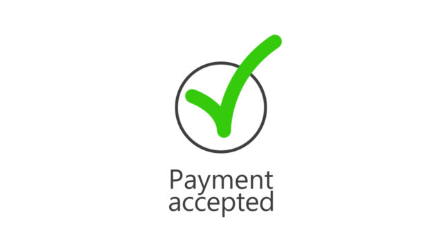 Payment accepted. Green check mark symbol