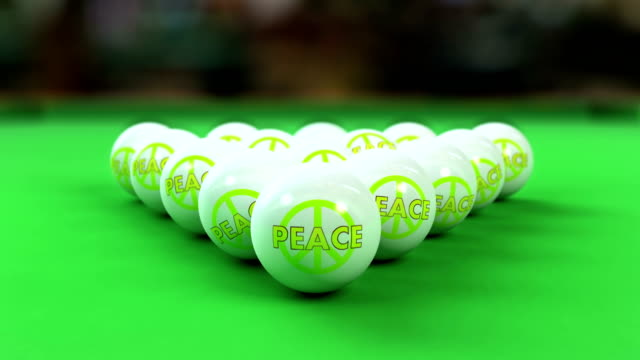 Peace bBalls breaking on pool table video