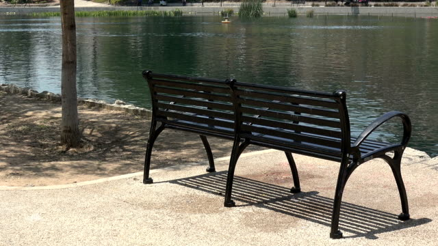 Peaceful public park Empty park bench overlooking a peaceful lake wrought iron stock videos & royalty-free footage